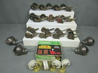 Antique Vintage Lot Of 37 Furniture Steampunk Casters Wood Metal Plastic
