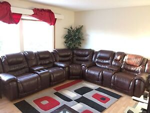 Brown/burgundy six seater leather sectional