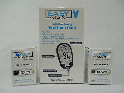 EASYMAX V TALKING Diabetic Meter and 2 Boxes Easy Max 50ct Test Strips ~NEW~