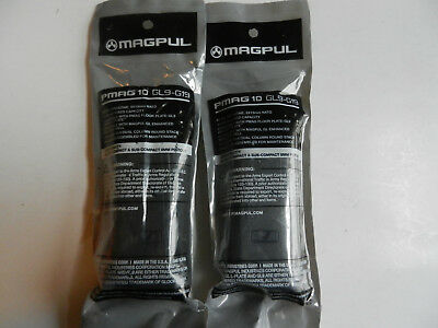 Magpul Magazine GL9-G19; Fits Glock 19; Holds 10 Rounds 9mm;  2 Pack; MAG907-BLK, used for sale  Imlay City
