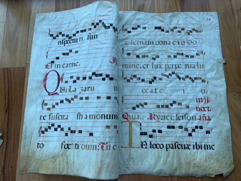 Gigantic Antiphonary Manuscript Lf.Vellum Pergament Choral ca.1600 4 Pages II