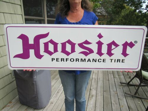 VINTAGE ORIGINAL HOOSIER TIRES EMBOSSED TIN TACKER SIGN NEW OLD STOCK MIB LOOK