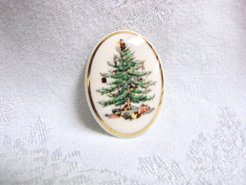 Spode Porcelain Christmas Tree Pin / Brooch, Holiday Jewelry