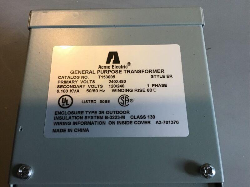 T153005 Acme Electric Distribution Transformer Single Phase 240X480 120/240V