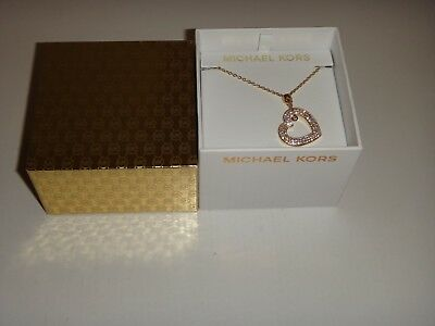Michael Kors Women's MK Rose Gold Necklace Crystals Pave Heart MKJ6382791 + BOX
