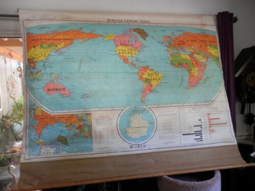 Vintage Denoyer-Geppert Series, World Map 1964 S79a Political World Map 83 x 42""