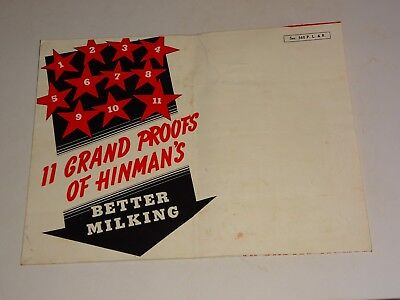 1940s Hinman Milking Machine Co. Oneida Ny Poster Brochure Better Milking