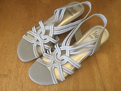 Impo Stretch Ruby Beige Wedge Strappy Slingback Sandals Women's Size 10M