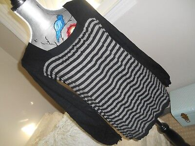 ANA* SWEATER* Striped BABY DOLL TUNIC TOP Square Neck COTTON-Cashmere SOFT* Sz:M