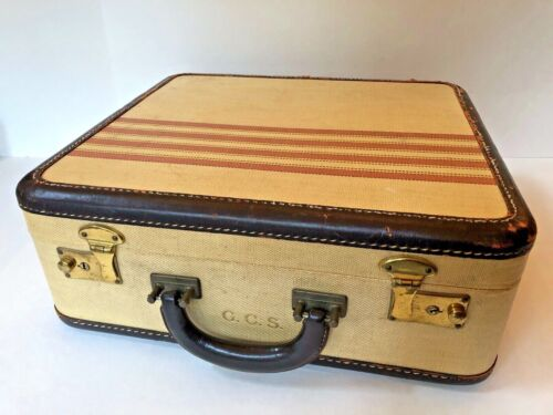 VTG Yellow Brown Red TWEED Stripe TRAVEL COSMETIC CASE Train Makeup HARD SHELL