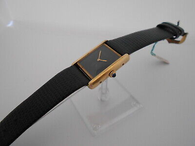 Cartier Black Face Man's Vintage Wristwatch, Manual Wind Movement