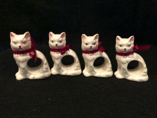 Vintage 1983 Ceramic Cat Napkin Rings Set of 4 Exclusive Design by Ron Gordon