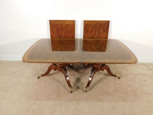 HENREDON Historic Natchez Collection Mahogany Inlaid Dining Table w 2 Leaves