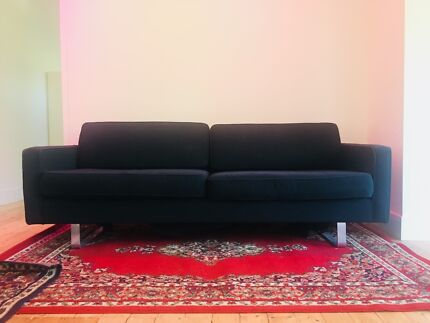 Set of 3 classic black couches
