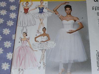 McCALL'S 7615 MISSES BALLET DANCE BONED BODICE TUTU SKIRT PATTERN UNCUT-14-22