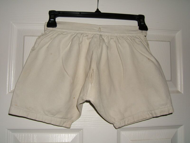 Boys Vintage Antique White Cream Ivory Button Shorts Knickers