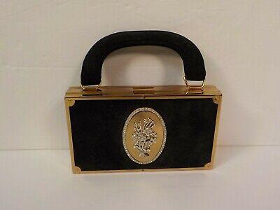 1940s Handbags and Purses History Evans 1940's Suede Ladies Compact Handbag. Rhinestone Decoration $199.99 AT vintagedancer.com
