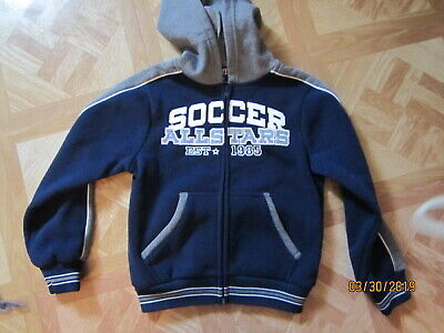Childs  Warm up Soccer Jacket  with hood. size 6, navy & white.