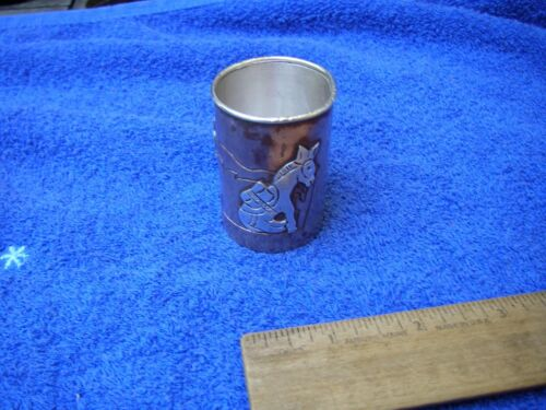 Good VICTORIA TAXCO Mexico Silver on Copper SHOT GLASS-Applied BURROS-NR