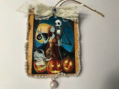 halloween gothic jack and sally wood ornament, hand crafted, item # W13