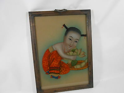 Antique Asian Japanese Chinese Reverse Painting on Glass Framed 1930'S LOTUS