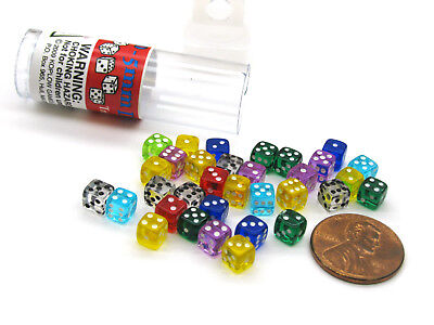 30 Six Sided D6 5mm .197 Inch Transparent Die Tiny Mini MultiColored Clear Dice](Clear Dice)