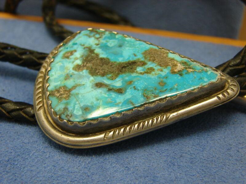 Vintage Old Pawn Harvey Era Southwest Silver Montana Blue Turquoise Bolo Tie