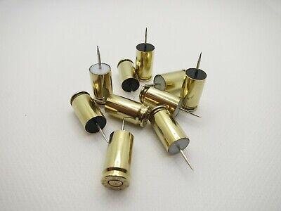 10 Bullet Push Pins 9mm Luger Brass Bullet Cases Thumb Tacks