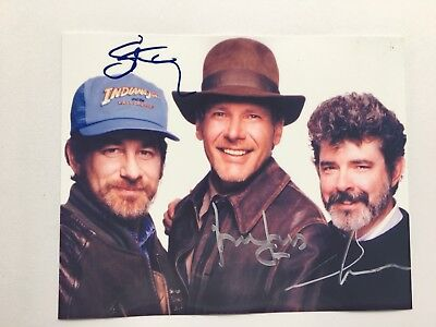 Reprint Harrison Ford, George Lucas & Steven Spielberg Signed 8x10 Photo