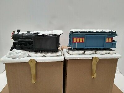 Hallmark Polar Express Train Christmas Stocking Hangers Engine and Caboose