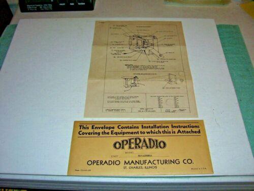 OPERADIO EXPLAINETTE INSTALLATION OPERATING INSTRUCTIONS 1941