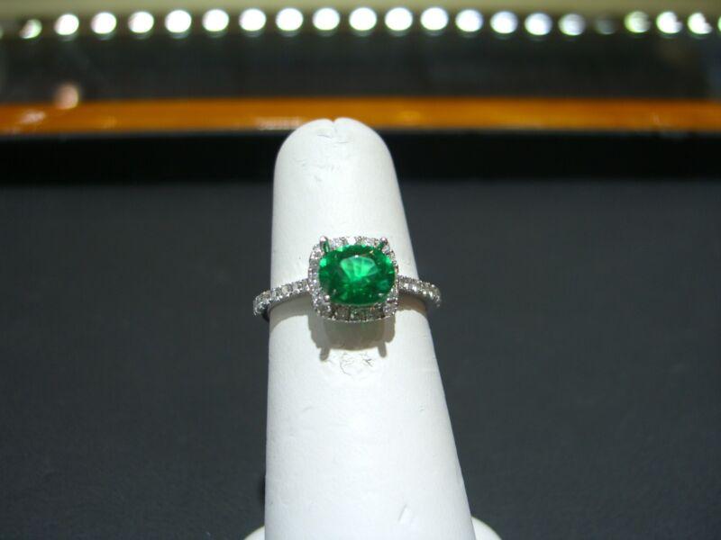 Fine 14 Karat White Gold Diamond And Columbian Emerald Ring New Size 6.5  Wow!!!