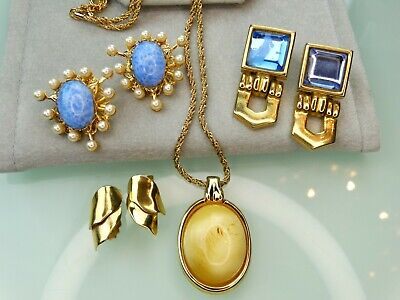 CHRISTIAN DIOR PAOLO GUCCI RUNWAY LOT VTG MOGUL BLUE GOLD PEARL EARRING NECKLACE