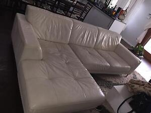 Nick Scali white Italian leather sofa Torrens Woden Valley Preview
