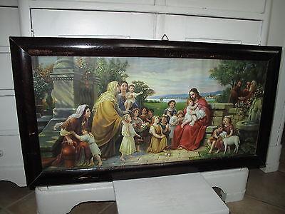 Antik Heiligenbild Schlafzimmerbild Jesus + Versammlung Kinder Shabby alt Bild