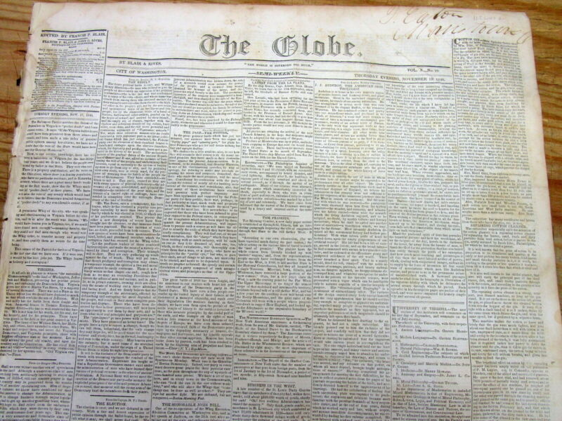 1840 newspaper wth front page news WHIG William Henry Harrison elected President