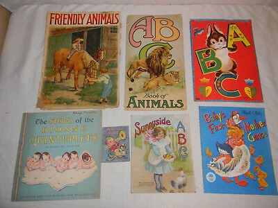 7 VINTAGE CHILDRENS BOOKS ABC MOTHER GOOSE ANIMALS CLOTH FROM 20s 30s 40s - 50s Childrens Clothing