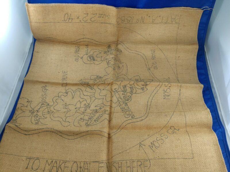 """Rug Hooking Pattern on Burlap, Primitive 40"""" x 22"""", Floral, Rectangular or Oval"""