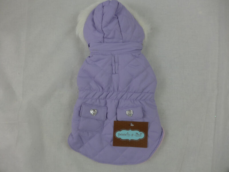 Dog Coat Fancy with Removable Hood Fully Lined Pink Lavender Black & White New