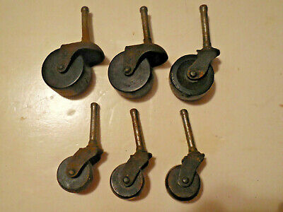 6 Vintage Metal Casters With Wood Wheels 2 Sizes