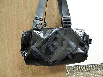 3ab3307e02b6 CHANEL SPORT LIGNE COATED CANVAS DUFFLE BAG SPORT BAG INTERLOCKING C BLACK  SMALL
