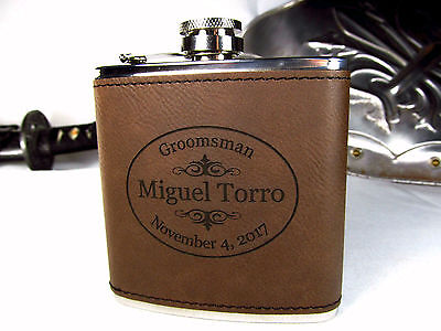 4 Personalized Engraved Brown Leather Flasks Custom Groomsmen Gifts - Customized Flasks