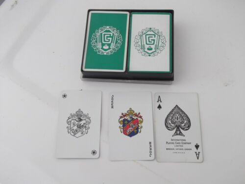 VINTAGE 1960S CURLING MOTIF PLAYING CARDS-2 DECKS WITH JOKERS IN BOX-NICE SET