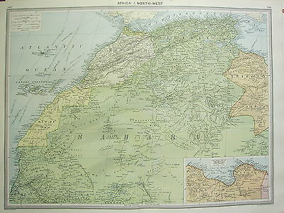 1920 LARGE MAP ~ AFRICA NORTH-WEST ~ SAHARA TRIPOLI MOROCCO ALGERIA CANARY