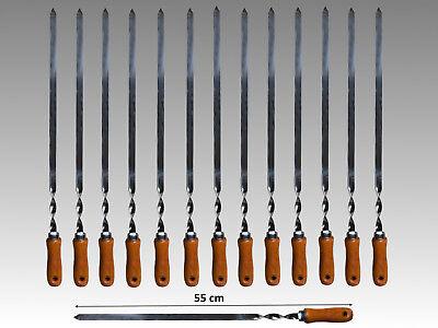 Griff Grill (14 Grillspieße Edelstahl mit Holzgriff 55cm Schaschlikspieße Fleischspieße 2mm  )