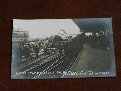 ORIGINAL REAL PHOTO POSTCARD,RAILWAY DISASTER AT SALISBURY,JULY 1ST 1906,FUTCHER