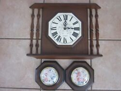 Wall Clock & Plaque Set Verichron Harris & Mallow Colonial Vintage 1970s Working