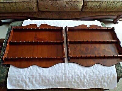Set of 2 Matching Vintage Wood Souvenir Tourist Spoon Wall Racks Display