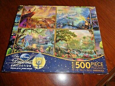 Disney Dream Collection Four 500 Piece Puzzles Thomas Kinkade Made in USA NEW