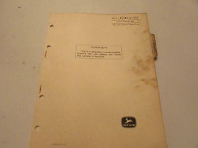 John Deere Pc-695 Backhoe Bulldozer 612 Parts Catalog Manual